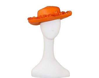 Orange Straw Wide Brim Hat by Don Anderson, Orange Straw & Horsehair Bows, Hat Size 21