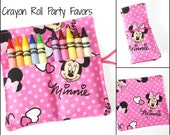 READY TO SHIP! Minnie Mouse Birthday Party Crayon Roll Party Favors, made from Minnie Mouse fabric, crayon rollups sleeves party supplies