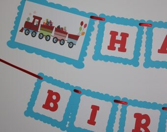 Trains Banner, Happy Birthday Party Banner, Choo Choo Train, READY TO SHIP, Trains Party Decoration