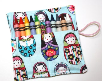 Matryoshka Crayon Rolls Party Favors, Nesting Dolls Birthday Party Favors, holds 10 Crayons