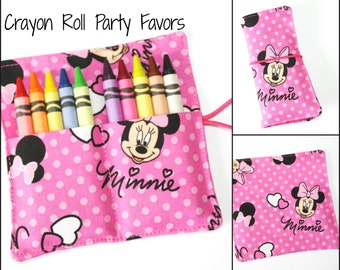 READY TO SHIP! Minnie Mouse Crayon Roll Party Favors, made from Minnie Mouse fabric, crayon rollups sleeves wraps party favors