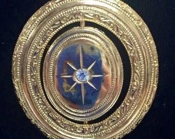 Vintage Avon Star Gold Spinning Locket Pin Brooch