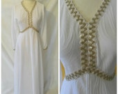 Vintage Mod '60s White Hostess Dress Goddess Wedding Gown Sequin Ric Rac Empire Waist Full Length A-line Skirt Maxi Dress Sz M / Medium 6 8