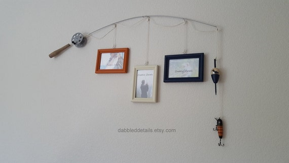 Fishing Pole Picture Frame - Silver or Brown Pole - 3 - 4 in x 6 in Picture Frames - Terra Cotta, Bleached Sand, Navy
