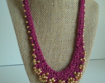 Knit Beaded Necklace