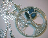 Fine Silver with Sterling Silver Chain Labradorite  Wire Wrapped Tree of Life in Fine Silver, Full Moon Tree of Life