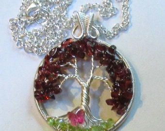 Garnet and Peridot Wire Wrapped Tree of Life, January Birthstone Wire Wrapped Tree of Life