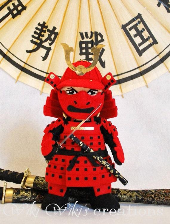 Large Samurai Plush Felt Doll