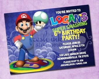 Super Mario Bros Invitation