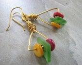 Sea Glass Earrings, Beaded Gold Triangle Hoop Earrings Festive Geometric Jewelry Mother of Pearl Shell Seaglass Jewelry