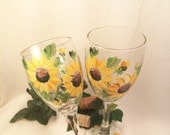 Sunny sunflower pair of wine glasses hand painted