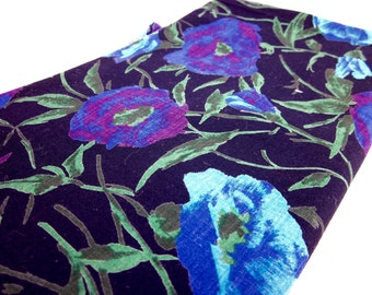 Vintage Mid Century Cotton Fabric, Midnight Garden Print