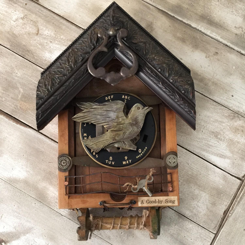 Wooden Birdhouse Wall Decor : Vintage wall decor assemblage art bird house from barn wood