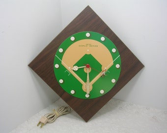 1970 Maclox World Series Baseball Clock In Box