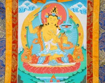 Manjushri Thangka Painting, Tibetan Thangka, Buddhist Mandala Art, Buddhist Meditation, Altar, Buddha, Tibet, India, Nepal