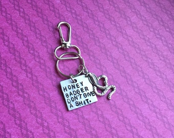 Hand Stamped Honey Badger Don't Care keychain