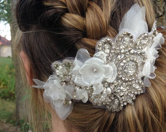 Crystal bridal headpiece, Ivory flower headband, Floral fascinator, Bridal comb, Flower crown
