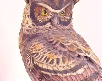 Andrea Great Horned Owl Porcelain Bird Figure Statue