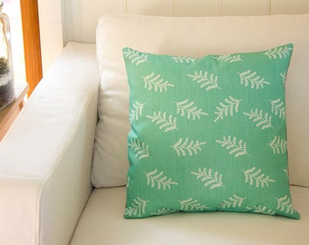 Fern Fronds in Mint Cushion Cover, Linen Cotton Botanical Print   Ready to Ship from Australia