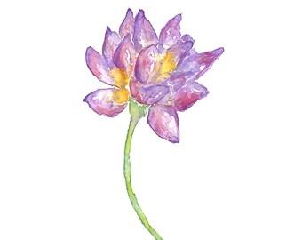 Watercolor flower print, lotus flower art, zen print, lotus print, buddhist decor, buddhist art, watercolor lotus print, zen art