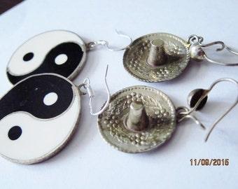 Vintage Yin & Yang Sombrero Alpaca Silver Earrings