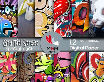Graffiti Street Art Special Pack Download Digital Backdrop Textures ,Scrapbooking Paper,Invites,Cardmaking 12x12 inches Download Printable