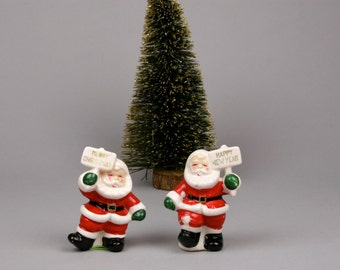 Vintage Santas Signs of the Season Salt and Pepper Shakers made in Japan