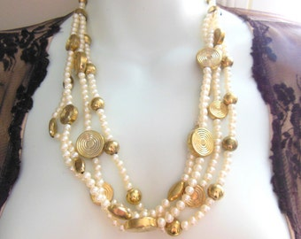 Vintage India White Faux Pearl Gold Disk Bead Multi-Strand Bollywood Necklace