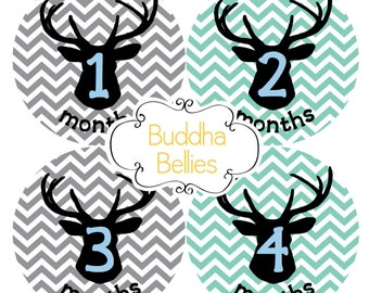 Monthly Baby Stickers Deer Antler Silhouette Hunting Baby Hunter Month Stickers Month Baby Stickers Baby Stickers for Deer Hunting Nursery