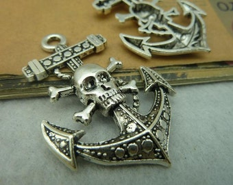 10pcs 32*50mm antique silver   Skull anchor charms pendant C3850