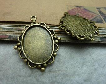 20pcs 25x18mm antique bronze cabochon pendant settings C7375