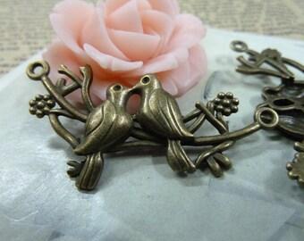 10pcs 25*45mm antique bronze mandarin duck bird charms pendant C1696
