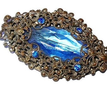 "Art Nouveau Edwardian Brooch Pin Blue Art Glass Rhinestones Stering Silver Filigree 2"" Vintage"