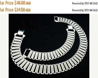 Judy Lee Necklace Bracelet Demi Set Silver Metal Book Link Style Signed 1960s Vintage