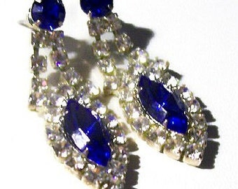 "Blue Rhinestone Drop Dangle Earrings Signed LIND Post Backs Silver Metal 1 3/4"" Vintage"