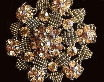"Honeycomb Brooch Topaz Rhinestones Gold Metal High Fashion 2 1/4"" Vintage"