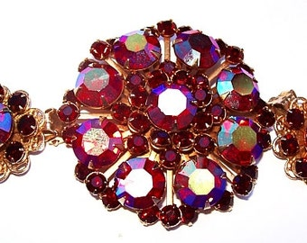 Red Rhinestone Brooch Earring Demi Set Aurora Borealis Big & Bold Gold Metal Vintage