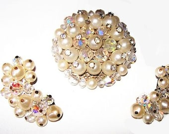 Laguna Brooch Earring Demi Set Signed Crystal & White Pearl Beads Silver Metal New Years Vintage