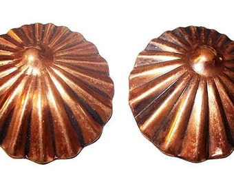 "Copper Clip On Earrings Clam Ridged Lined Fan Design 1.5"" Boho Vintage"