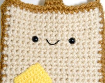 MADE TO ORDER-Buttered Toast Hip Crochet Purse -Crochet Purse-Kawaii-Beige-Women Accessories-Bags-Crochet