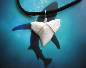 """Shark Tooth Necklace, Modern day Bull Shark tooth, Suede leather cord 20"""", Silver plated wire wrap"""