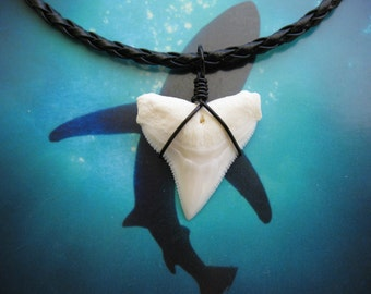 """Shark Tooth Necklace, Modern day Bull Shark tooth, Braided leather cord 18"""", Hematite wire wrapped"""