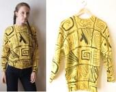 10 DOLLAR SALE_Primary Yellow Angora and Wool Artsy Scribbled Club Kid Sweatshirt Jackson Pollack 80s Artschool