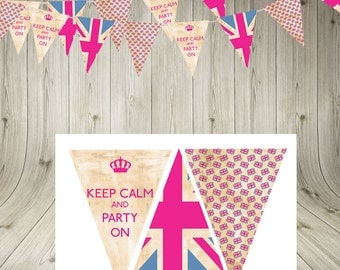 Vintage Union Jack, Keep Calm, Party On, Bunting, Garland, Instant Download, printable bunting, British party, pink, blue,  party flags