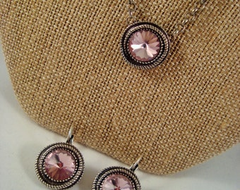 Swarovski Crystal Necklace and Earring Set 12mm Rivoli Light Amethyst Antique Silver