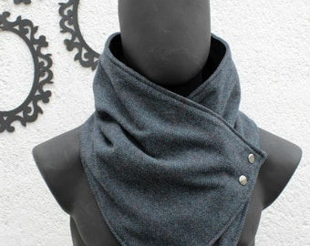 Mens scarf. Mens cowl scarf. Teal color, herringbone wool with metalic snaps . Trendy, modern, chunky  and cozy. Mens winter. Husband gift.