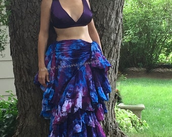 Tie dyed 32 yard skirt in berry patch for belly dance, renaissance faire, gypsy and bohemiann