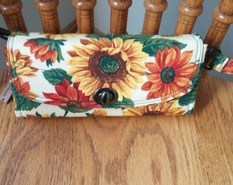 Sunflower Print Wallet, NCW, Yellow, Orange, Fall Colors