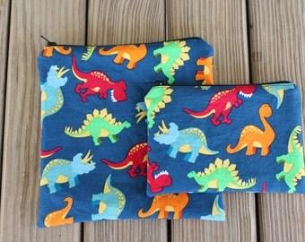 Reusable Bag Combo, Dinosaur - Zipper Sandwich Bag and Zipper Snack Bag
