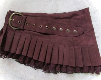 Maroon suede steampunk leather mini skirt wrap around leather ruffled steampunk skirt  with lace